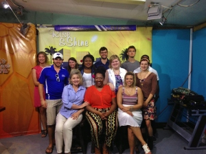 "The International Classroom Initiative launch class of 2014 completes taping of the ""Rise and Shine"" TV show. From left to right (front row), Professor Deborah Wagnon, Sharita Henderson, and Brook Mullinix; (middle row) Jessie Garrett, Kim Albritton, Victoria Richardson and Emma Mitchell; (back row) Adrianna Martinez, Beth Chitwood, Sam West, Spencer Lawrence and Daniel Jones (hidden). Photo courtesy of Jessie L. Garrett."