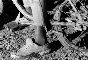 Bike rider at Hardtimes Plantation
