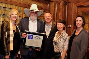Following the ceremony, a proud Charlie Daniels poses with friends (left to right): Beverly Keel, MTSU's new chair of the Department of Recording Industry; Daniels; Pete Fisher, Grand Ole Opry general manager; Pam Matthews, executive director of the International Entertainment Buyers Association; and Melissa Wald, Recording Industry associate professor. Photo by Vicky Tubb