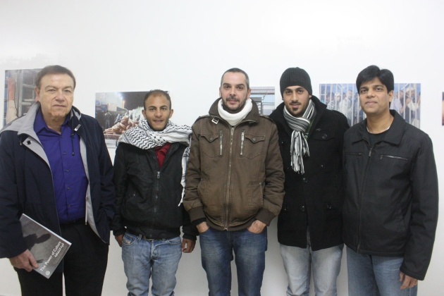 Pictured in Bethlehem along with Dr. Asthana (right) are (left to right): Nishan Havandjian, co-investigator; Miras Al Azza from the Lajee Youth Media Center in Bethlehem; Rich Wiles, a British volunteer; and Mohamed from Lajee.