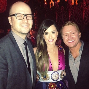 Singer Kacey Musgraves, center, poses with her GRAMMY-winning album's co-producers, MTSU alumnus Luke Laird, left, and Shane McAnally, after accepting the award.
