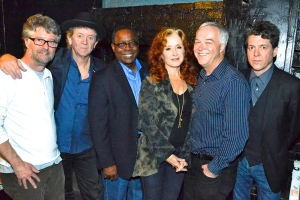 GRAMMY-winning artist Bonnie Raitt (center) poses with MTSU President Sidney A. McPhee (left of Raitt) and Ken Paulson, dean of the College of  Mass Communication, before the Americana Music Festival's pre-GRAMMY salute to Phil Everly at the Troubadour club on Saturday, Jan 25, in West Hollywood. Also pictured is Jed Hilly, Americana's executive director (far left), singer-songwriter Rodney Crowell (second from left) and singer-songwriter Joe Hentry (far right).