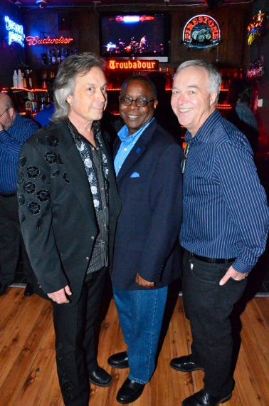 TSU President Sidney A. McPhee (left) with singer-songwriter Jim Lauderdale and Ken Paulson, dean of the College of Mass Communication, at the university's Jan. 25 reception at the Troubadour Club in West Hollywood before the Americana Music Festival's pre-Grammy salute to Phil Everly.