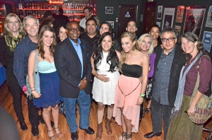 MTSU President Sidney A. McPhee poses with members of Maybe April, a singing trio that includes MTSU students Kristen Castro (right of McPhee) and Katy Bishop (right of Castro). The group also includes Nashville resident Alaina Stacey (left of McPhee). Mass Communication Dean Ken Paulson (second from far left) and Recording Industry Chair Beverly Keel (far left) hosted the MTSU alumni and industry event Jan 25 at the Troubadour club in West Hollywood.