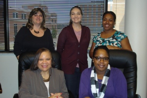 College of Mass Communication Academic Advisers: (Back row l-r) Nancy Stubblefied, Olivia Young, Hattie Traylor (front row l-r) Lucille Wilcox, Gia Jones