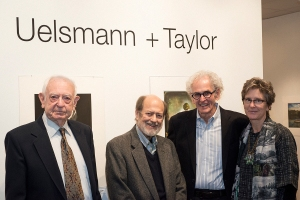 Harold Baldwin is pictured here with Tom Jimison, professor of Photography and curator of the Baldwin Gallery; Jerry Uelsmann, featured artist; and Maggie Taylor, featured artist.