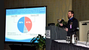 Jason Reinke at the TPA, delivering results of the latest MTSU Poll. Photo by Andrew Oppmann.