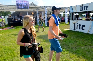 Mass Comm sophomores Kimi Thompson and John Coulston roam the grounds of the Bonnaroo Music and Arts festival in search of stories for The Tennessean. (MTSU photo)