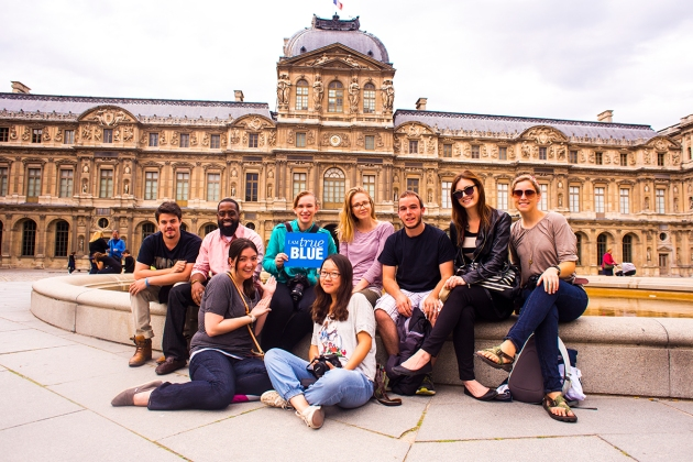 The MTSU students who filmed and produced Paris documentaries are:  (back left to right) Lucas Fleming, Richard Adams, Tiffany Murray, Amber Bradford, Justin Carroll, Samantha Hearn and Kelly Rozell; (front left to right) Kelsey Price and Bing Li.