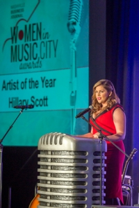 Hillary Scott, MTSU alumna and lead singer of GRAMMY-award winning country music trio Lady Antebellum, was recognized as Artist of the Year at The Nashville Business Journal's inaugural Women in Music City Awards. (MTSU photo by J. Intintoli)