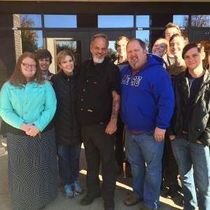 R.L. Castleman (center), with Alison Krauss to his right and MTSU's Odie Blackmon on his left, surrounded by MTSU songwriting students.