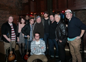 At the MTSU Songwriting Series were (left to right): Kyle Crownover, Caitlin Spencer, Terrez Seiber, Collin Baxter, Odie Blackmon, Eric Paslay, Dylan Altman, Mass Comm Dean Ken Paulson, Nick Carpenter and Zach Russell (kneeling).