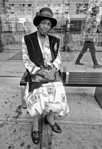 Stein woman at bus stop