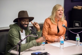 MTSU alumnus Torrance Esmond, left, and Beverly Keel, chair of the Department of Recording Industry, react to a student's question during Esmond's return visit to campus March 3. (MTSU photo by Andy Heidt)