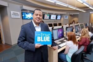CNN Producer and MTSU Alumnus Jeffery Reid in the new Center for Innovation in Media in the Mass Comm Building for the July 2012 MTSU Magazine.