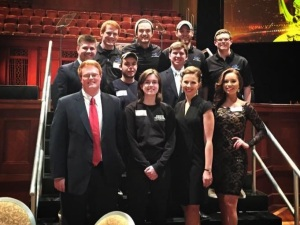 Current MT10 production staff who worked with TNDV and other MTTV/MT10 alumni to broadcast the 29th annual Midsouth Regional Emmys. Bottom row: Chris Davis, Multimedia Journalism student, former MT10 news director and current NewsChannel5 associate producer; Melody Carson, Video & Film Production student and MT10 general manager; Bethany Thompson, Multimedia Journalism student and current MT10 news director; Brooke Grimsley, Multimedia Journalism student and Talent-EMC Productions. Middle row: Grant Massey, New Media student and current MT10 News social media director; Justin Carroll, Video & Film Production student, camera for EMC Productions and MTSU Film Guild officer; Brett Gilbert, MMJ student and current MT10 News assistant news director; Zac Leonard, Video & Film Production student and MT10 News chief photographer. Top row: Chris Robertson, Video & Film Production student and MT10 News production director; Murphy Mulvihill, Video & Film Production student and replay operator for EMC Productions; Phil Layton, Video & Film Production student and camera for EMC Productions.