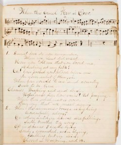 """Charles Sanderson lived in Oak Hill, a villiage of Newton, Massachusetts.  This song book, dated Dec. 29, 1866, contains handwritten music and lyrics. The Civil War songs, which are mostly about death and loss, include titles such as """"When Johnny Comes Marching Home,"""" """"O Wrap the Flag Around Me, Boys,"""" """"The Vacant Chair"""" and """"The Dying Soldier."""""""