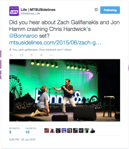 Twitter: Zach Galifianakis, left, and John Hamm, right, perform at the Bonnaroo Music and Arts Festival in Manchester, Tenn. On Saturday, June 13, 2015. This tweet and photo was captured by student reporter & photographer John Connor Coulston.
