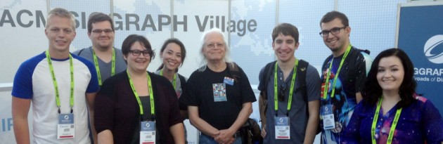 MTSU students (left to right) Jared Moore, Caleb Hoskins, Jaclyn Vazquez, Kelsey Hoggard, Professor and SIGGRAPH Conference Chair Marc Barr, Anthony Filipas, Cole Smeltzer, Angel Agee at the 2015 SIGGRAPH Conference in Los Angeles.
