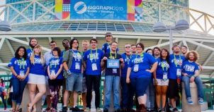 MTSU Students outside the LA Convention Center at the 2015 SIGGRAPH Conference (left to right): Rebecca Yanis, Justin Wright, Tasha Storie, Cole Smeltzer, Julia Daugherty, Quin Smith, Victor Chavez, Jared Moore, Anthony Filipas, Kelsey Hoggard, Assistant Professor Kevin McNulty, Caleb Smotherman, Jaclyn Vazquez, Angel Agee, Brandon Berry, Megan Steadman, Ryan Allgood, Derek Barnes, Zach Wells