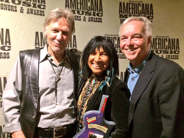 Dean Ken Paulson with Buffy Saint-Marie and Steppenwolf's John Kay at the Americana Music Association awards on Sept 16. 2015