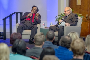 Motown music icon Lamont Dozier, left, jokes about his early career while his former label manager, MTSU Recording Industry adjunct professor Fred Cannon, and the audience laugh. (MTSU photo by J. Intintoli)