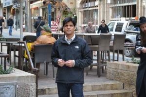 Dr. Sanjay Asthana on a West Jerusalem street.