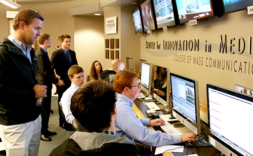 MTSU students work on deadline inside the Center for Innovation in Media. (MTSU file photo)