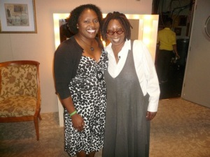 Merida with Whoopie Goldberg on the set of The View