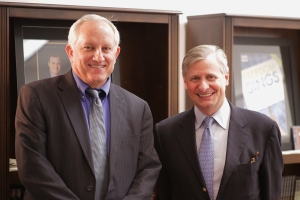 Noted author Jon Meacham (right) and Pat Embry, executive director of the John Seigenthaler Chair of Excellence in First Amendment Studies.