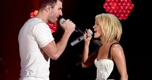 Former MTSU student Sam Hunt, left, sings a duet with Carrie Underwood at the 58th annual GRAMMY Awards, which aired on CBS-TV Feb. 15. (Photo courtesy of CBS-TV)