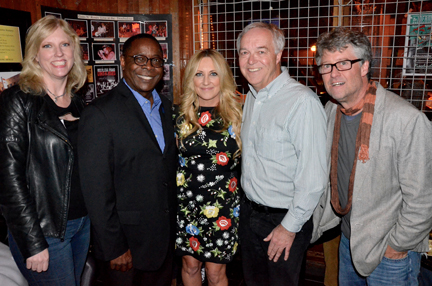The Americana Music Association held a pre-GRAMMY tribute Saturday night to the late Glenn Frey at the legendary Troubadour nightclub, sponsored by MTSU. From left is Beverly Keel, chair of Recording Industry Department; MTSU President Sidney A. McPhee; headliner Lee Ann Womack; Dean Ken Paulson; and Jed Hilly, executive director of the Americana Music Association. (MTSU photo by Andrew Oppmann)