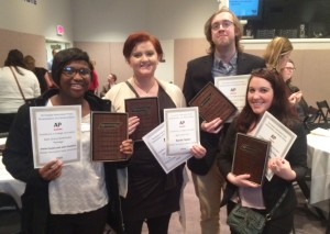 Sidelines staff (left to right) Jamie Cooley, Sarah Grace Taylor, John Connor Coulston and Dylan Aycock with their awards at the 2016 Tennessee Associated Press Broadcast and Media Editors Contest.