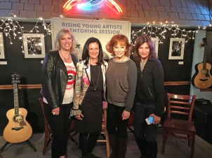 The Change the Conversation group recently launched its mentoring sessions for young artists at the Bluebird Café in Nashville. Pictured left to right are Beverly Keel, chair of MTSU's Department of Recording Industry and co-founder of Change the Conversation; Leslie Fram, CMT senior vice president and Change the Conversation co-founder; country music legend and special guest Reba McEntire; and Tracy Gershon, Rounder Records Group's vice president of A&R and Change the Conversation co-founder. (Photo courtesy of Justin McIntosh)