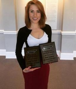 "Student journalist Erin Thomas brings home two first place wins for ""Best Use of Sound"" and ""Best Radio Newscast"" for her work at WMOT radio."