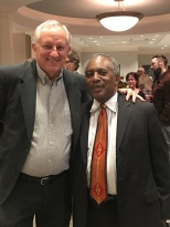 Colleagues in the local journalism community catch up at the reception: Pat Embry (left), now the communications director for the Community Foundation of Middle Tennessee with the retired Tennessean editorial page editor, Dwight Lewis.