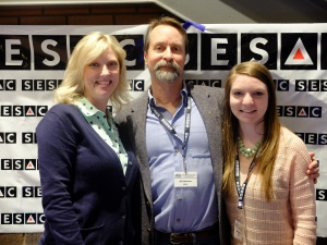 Recording Industry Chair Beverly Keel (left) with RI alumni Bill Stevens and Shandi Sigler manning the SESAC booth.