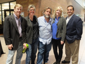 The College of Media and Entertainment's graduation party in Bragg included (left to right) Electronic Media Assistant Professor Tom Neff, Center for Innovation in Media Director Val Hoeppner, film and music producer Dub Cornett, Recording Industry Chair Beverly Keel and HBO executive Kary Antholis.