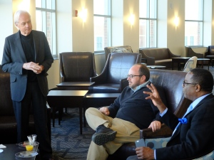 Keynote speaker Bill Ivey, left, and Professor and Scholars Week committee member Will Langston listen as MTSU President Sidney A. McPhee makes a comment during their casual conversation March 28.