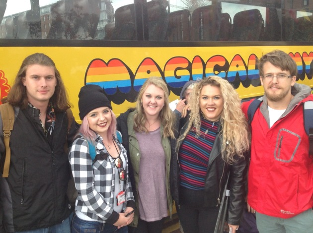 Recording Industry majors visit the Magical Mystery Tour in Liverpool, all part of the Britpop! Study Abroad course. They are (left to right) Chase Mabey, Lindsey Hendricks, Morgan Atkinson, Heather Huskey and Eric Owings.