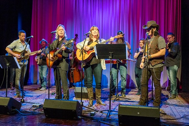 """Americana artists welcome the transition of WMOT-FM to an Americana format by performing """"Sittin' On Top of the World."""" The vocalists are, from left to right, Will Hoge, Jim Lauderdale, Suzy Bogguss and Mike Farris. (MTSU photo by J. Intintoli)"""
