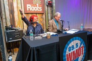 Music City Roots Program Director Jessie Scott (left) and announcer Keith Bilbrey celebrate the transition of WMOT-FM, MTSU's 100,000-watt radio station, to Americana music. (MTSU photo by J. Intintoli)