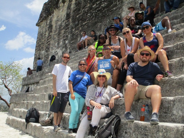 One of the Belize excursions led to the Mayan city Tikal, Peten, Guatemala. From top (left to right): Ariel Staples, Chase Phillips; Kim Albritton, Jacob Layne, Maggie Winterling, Sierra Sotelo; Rachel Petty, Anthony Pantalena, Nick Mccluskey; Clint Moody, Gianna Wagnon, Associate Professor Deborah Wagnon.