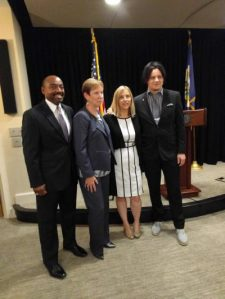 Council of Gender Equity co-chairs Ronald Roberts (left) and Pat Shea, with Mayor Megan Barry and council committee member Jack White. Photo by Will Racke, Nashville Business Journal.