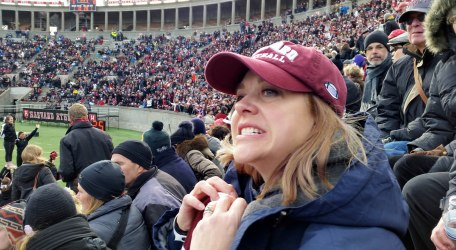 Christine a little anxious at the Harvard-Yale game!.jpg