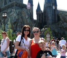 Eschenfelder with family at the Harry Potter ride in Universal Studios.