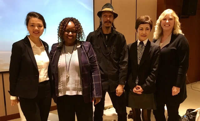Gloria Green (second from left) and Beverly Keel (right) pictured with faculty from the Communication University of China in Beijing.