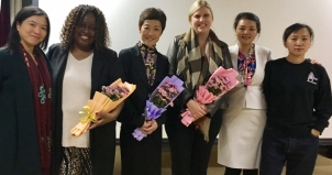 Gloria Green (second from left) and Beverly Keel (third from right) pictured with faculty from the Communication University of China in Beijing.